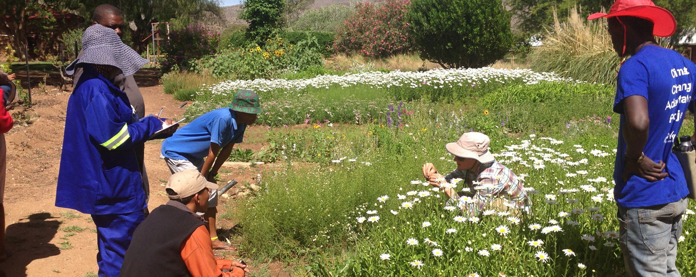 Fabian von Hase, a permaculture specialist, shares information with the champions on co-planting flowers to reduce pests